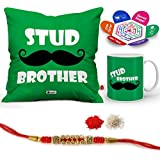 """Indigifts Raksha Bandhan Gifts For Brother Stud Brother Quote Printed Gift Set Of Cus 12""""x12"""" With Filler, Mug 330 Ml, Crystal Rakhi For Brother, Roli, Chawal & Greeting Card - Rakhi Gifts For Brother, Rakshabandhan Gifts, Rakhi For Brother"""