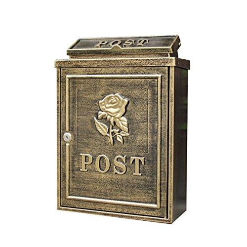 MXD Briefkasten europäischen Briefkasten im Freien wasserdichte Villa Postfach Wand mit Schloss Postbox Garten kreative Briefkasten Antik Kupfer Rose Muster -