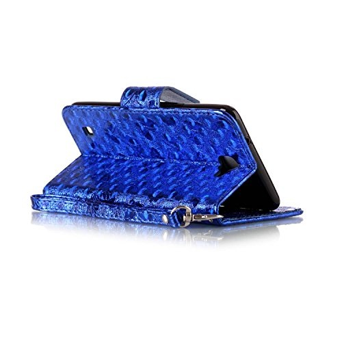 FESELE étui en Cuir pour LG X5,Coque Housse Etui pour LG X5,PU étui en Cuir Avec un Design Modèle Laser Papillon,Style de Style Fermeture Magnétique Portefeuille en Cuir PU Élégant Housse de Recouvrem Bleu