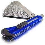 Cuttermesser Teppichmesser Kartonmesser Blueline inklusive Cutterklingen 18mm (100 Messer / 400 Klingen)