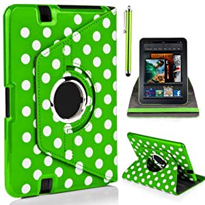 """Mobile-Heaven Stylish 360 Degree Rotating POLKA DOTS GREEN Premium PU Leather Smart Stand Multi Function Chrome Flip Pouch Case Cover For Amazon Kindle Fire HD 7"""" Tablet 16GB or 32GB (Previous Generation) With Sleep Wake Function And Free Stylus & Screen Protector"""