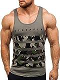 BOLF Herren Tank Top T-Shirt Muskelshirt Camouflage Sport Style Breezy 171090 Grün M [3C3]