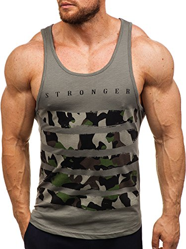 BOLF Herren Tank Top T-Shirt Muskelshirt Camouflage Sport Style Breezy 171090 Grün L [3C3]