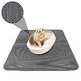 TVMALL Alfombrilla para Gatos, Doble Capa de Panal de Abeja y Gato, Duradera, Impermeable, EVA, para areneros, no tóxico, fácil de Limpiar, diseño de Gato pequeño, 46 x 60 cm