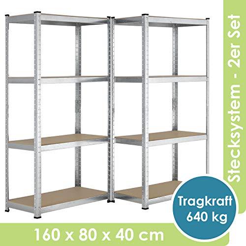 Juskys 2er-Set Lagerregal Easy 2X 160x80x40cm I 640kg Traglast I 8 Böden I Metall Schwerlastregal Kellerregal Steckregal Regal - Metall-regale