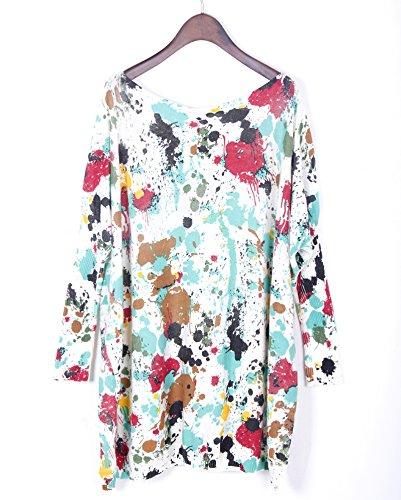 Bigood Sweat-shirt Femme Pull Robe Grande Taille Sweat Manche Chauve-souris Col Rond Mode Vert