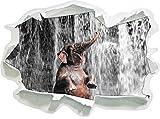 Stil.Zeit Babyelefant am Wasserfall B&W Detail Papier im 3D-Look, Wand- oder Türaufkleber Format: 92x67cm, Wandsticker, Wandtattoo, Wanddekoration