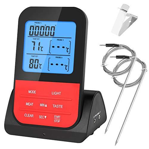 Vegena Grillthermometer Fleischthermometer, BBQ Thermometer Funk Grill Bratenthermometer Ofenthermometer 2 Sonden mit Temperatur Voreinstellung, Küchenwecker, Blaue Hinterbeleuchtung, Magnetrückwand