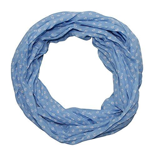 Anker Marine Damen Seide Loop Schal Seidenschal Seidenschals Schlauchschal Tuch Seidentuch mit Baumwolle (hellblau neu) (Damen Anker)