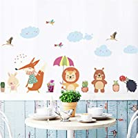 Animals Bear Owl Fox Umbrella Tree Plant Wall Stickers Kids Rooms Home Decor Animals Stickers Art DIY Poster