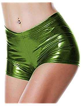 Honghu Mujeres Se?oras Shiny Sexy Mini pantal¨®n corto Hot Shorts Dance Clubwear Disco Dance Shorts