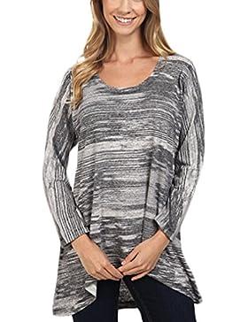 T-Shirt Donna Eleganti Manica Lunga Rotondo Collo Sciolto Vintage Stampato Orlare Irregolare Basic Moda Hippie...