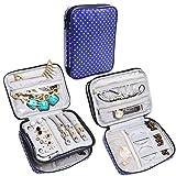 Teamoy portatile da viaggio per gioielli scatola portagioie per la conservazione collane, bracciali, orecchini, anelli e altro ancora, Viola Dots