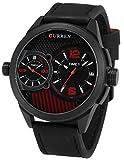 EASTPOLE Herren Armbanduhr Quarzuhr Datumsanzeige Schwarz Leder XXL Oversized Uhr CUR112
