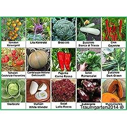 Gemüse Set 2: Broccoli Blumenkohl Gurken Kürbis Zucchini Weißkohl Aubergine Kohlrabi ... Samen Saatgut