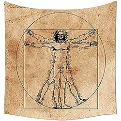 Anatomía Humana tapiz Medieval hombre de Vitruvio crosshatching famoso renacimiento italiano PINTURA cuerpo arte colgante de pared para dormitorio sala de estar dormitorio Sepia