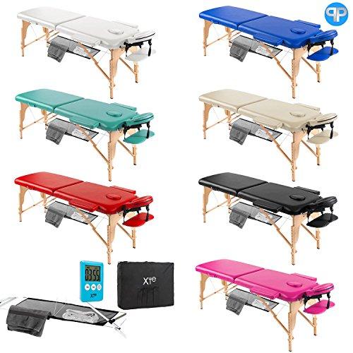 Lettino da massaggio lettini per massaggi estetica 2 zone legno portatile con rete (blu)