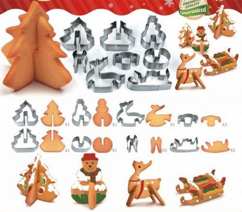 Holzsammlung 8-Teilig Ausstechformen Weihnachten Ausstecher Set Plätzchenformen aus Edelstahl Metall perfekt für Keks,Backen Fondant Plätzchen,Tortendekorationen #1