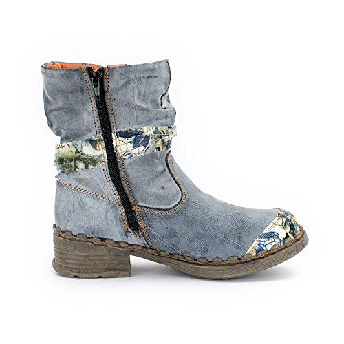 Tama Tma - Bottes Western Femme Gris Bleu