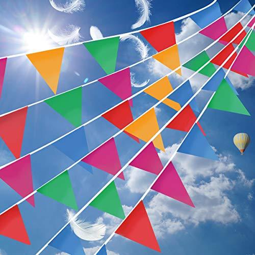 MILALOKO 300 Bunte Wimpelbanner, Mehrfarbig, Wimpelkette, Flaggen für Party, Hochzeit, Geburtstag, große Öffnung, Festival-Dekorationen