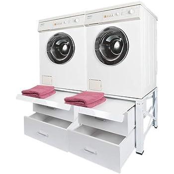 doppel untergestell f r waschmaschine und trockner sockel podest unterbau neu mit 2 schubladen. Black Bedroom Furniture Sets. Home Design Ideas