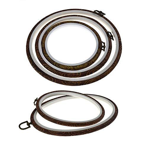MOGOI 5 Stück Stickrahmen Ring Kreuzstich Kreolen Holz Rahmen Kreis und Oval Stickerei Kits für Kunst Basteln Nähen und Aufhängen -