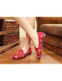 Chnuo Mujeres Suela Suave Zapatos Chinos PlanosZapatos bordados abeja lenguado del tendón estilo étnico femaleshoes...