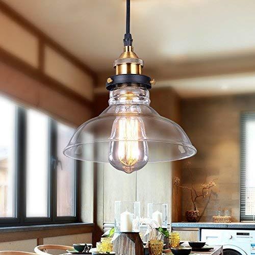 Maxmer Industrie Retro Hängelampe Vintage Loft Deckenleuchten Led Pendellampe Glas Shade Anhänger für Küche Loft Schlafzimmer Office Home Dekorative(4*Style) (S4)