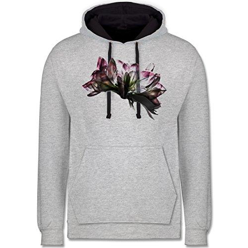 Blumen & Pflanzen - Orchidee Timelapse - Kontrast Hoodie Grau meliert/Dunkelblau