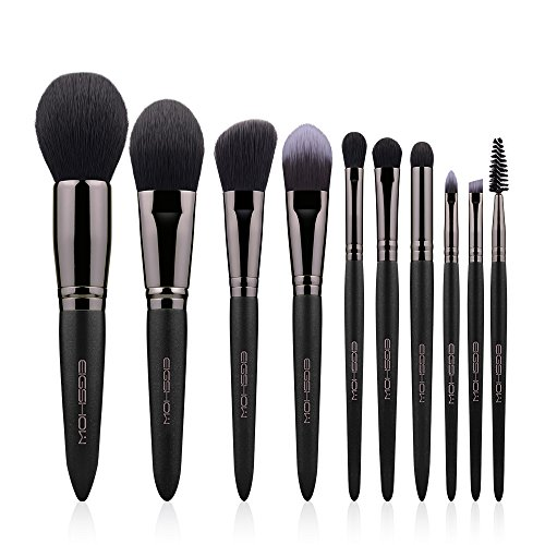 Makeup Brushes EIGSHOW 10pcs Vegan Makeup Brush Set Premium Synthetic Eyeshadow Brush Face Foundation Powder Blush Eye Blending Eyebrow Lip Cosmetic Brush Kit with Makeup Bag Black