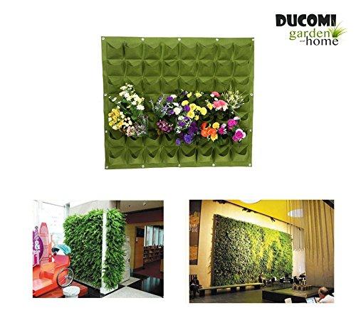Ducomi giardino verticale - 56 tasche - vasi da muro per decorazione - porta piante design modulare da appendere a parete - esterno ed interno - colonna fiori appesi a parete