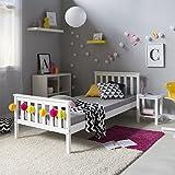 Homestyle4u 1416 Holzbett Kiefer massiv, Einzelbett aus Bettgestell mit Lattenrost, 90x200 cm, Weiß