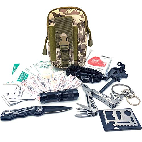 Kit di Sopravvivenza Multiuso Survival Kit con Set pinze Multi Tool e Braccialetto di Paracord. per Campeggio, bushcraft, Escursioni, Caccia e Le tue Avventure all'Aria Aperta ... (Molle Kit v1.0 Camo)
