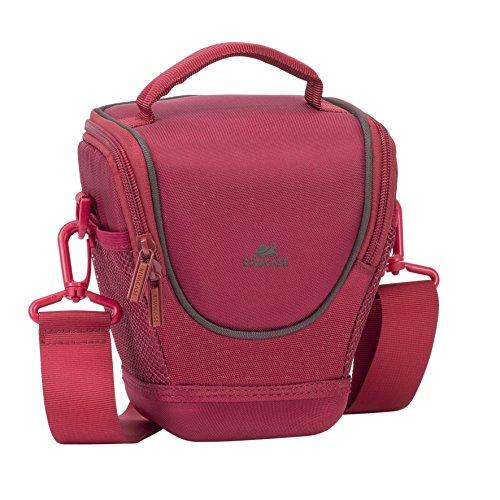 RIVACASE SLR Kameratasche - wasserabweisende Colttasche mit Antishock Boden und Netzfächer für Zubehör - Rot