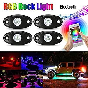 AMBOTHER RGB LED Rock Lights Kits Cell Phone APP Mini Bluetooth Control with 4 pods Waterproof Underglow LED Neon Light Kit for JEEP Off Road Trucks