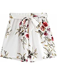 30f05406426f Damen Shorts Sommer LHWY Women Strandhosen Elegant Blume Print Casual Shorts  Gürtel Loose Pants Fashion Vintage Sport Kurz Hose…