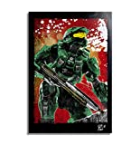 Master Chief aus dem HALO Videospiel - Original Gerahmt Fine Art Malerei, Pop-Art, Poster, Leinwand, Artwork, Film Plakat, Leinwanddruck, Science Fiction
