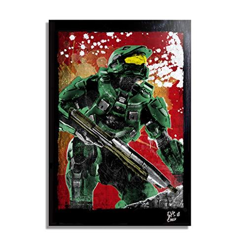 HALO Videospiel - Original Gerahmt Fine Art Malerei, Pop-Art, Poster, Leinwand, Artwork, Film Plakat, Leinwanddruck, Science Fiction ()