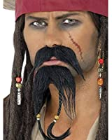 Smiffy's Pirate Facial Hair Set Moustache and Beard - Black