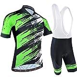 BXIO Abbigliamento Sportivo per Bicicletta, Maglia Ciclismo Maniche Corte con Pantaloncini Abbigliamento per MTB Ciclista, Nero con Verde, L