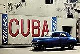 Viva Cuba Blaue Oldtimer auto car metal sign deko schild blech projekt