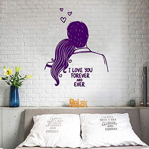 Vinyl Kunst Design Poster Wandbild Romantische Hochzeit Ich liebe dich für immer Wandaufkleber Paar Muster Kopfteil Schlafzimmer Poster ~ 1 114 * 138 cm -