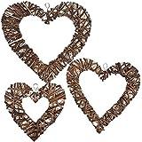 Jannyshop 3 piezas de mimbre de sauce, corazón, para boda, cumpleaños, fiesta, decoración de pared