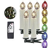 HJ® 50er Set LED Kabellose Weihnachtskerzen Buntlicht RGB inkl Fernbedienung Christbaumkerzen Weihnachtsbaumbeleuchtung
