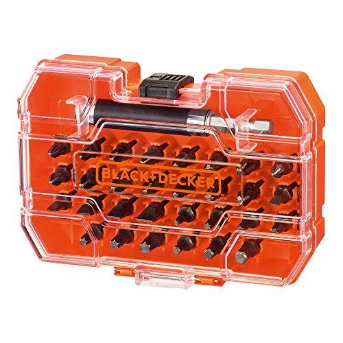 Black+Decker A7228-XJ 31-tlg. Bit-Set für Schraub- und Montagearbeiten (inkl. Magnethalter, in praktischer Aufbewahrungsbox)