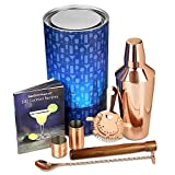 Copper Manhattan Cocktail Shaker Set - Cocktail Shaker Set and Home Cocktail Making Kit with Recipe Book, 750ml Shaker, Strainer, Muddler, Twisted Mixing Spoon, 25ml & 50ml Thimble Bar Measures