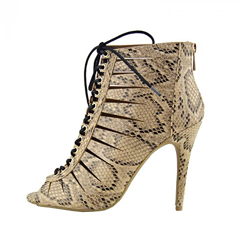 Kick Footwear - DONNA LADIES NEW LACE TIE ZIP STILETTO TACCO ALTO STIVALETTI ALLA CAVIGLIA SCARPE STIVALI SERPENTI - 10507