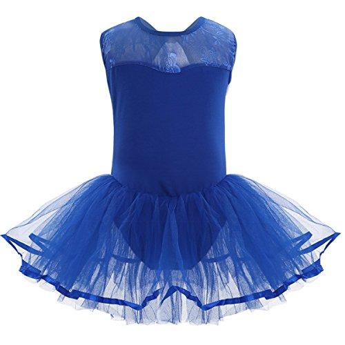 YiZYiF Mädchen Ballettanzug Ballettkleid Ballett Trikot Turnanzug Mädchen Kleider 104 116 128 140 152 164 (Blau, 128-140)