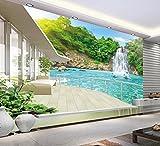 WH-PORP 3D Tapete für Zimmer Balkon Schöne Wasserfall Landschaft Benutzerdefinierte 3D Fototapete Home Dekoration-128cmX100cm