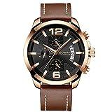 XLORDX Luxus Herren Uhren Quarz Datum Chronograph Wasserdicht Uhren Business Sport Design Braun Lederarmband Rosegold Armbanduhr